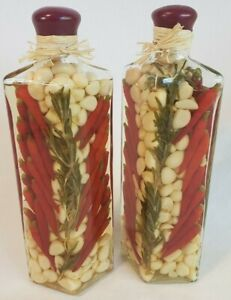 Lot of Two(2) VINEGAR Infused Decorative Glass Tall Bottle Chili PEPPERS Garlic