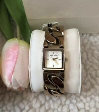 NWB ANNE KLEIN LADIES GOLD CHAIN DRESS WATCH SQUARE CLASSY GIFT