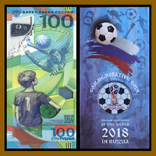 Russia 100 Rubles + 1st Colored Coin in Blister, 2018 FIFA World Cup Soccer, R6