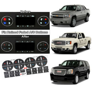 Useful AC Button Repair Kit Decal Stickers Dash Replacement For 07-13 Chevy GMC