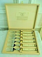 LAQUIOLE JEAN DUBOST FRANCE NEW AUTHENTIC SET OF 6 FORKS WOODEN STORAGE BOX.