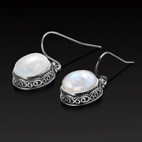 Vintage 925 Silver Natural Moonstone Drop Dangle Hook Filigree Handmade Earrings