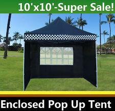 10'x10' Enclosed Pop Up Canopy Party Folding Tent Gazebo - Black Checker-E Model