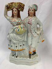 "Victorian Large Staffordshire Flatback Figure Of Lady & Man H13"""