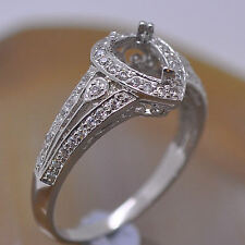 6x8mm Pear Cut Solid 14kt 585 White Gold Natural Diamond Semi Mount Wedding Ring