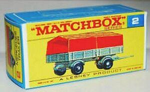 Matchbox Lesney No 2 MERCEDES TRAILER  style F Repro empty Box *