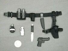 "1:6 Ultimate Soldier Black Belt, Pistol, Knife, Grenade Lot 12"" GI Joe Dragon"