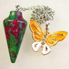 Ruby in Fuchsite Pendulum & Tibetan Golden Butterfly Pendant Bead S67841