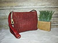 Americana Sharif Brown Braided Woven Leather Boho Purse Shoulder Crossbody Bag
