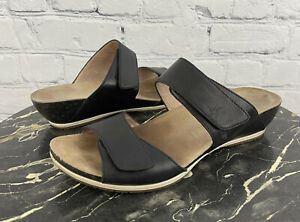 Dansko Black Leather Vienna 2 Strap Slide Sandal Sz 40 / US 9.5 - 10