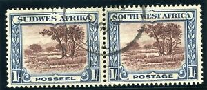 S.W.A. 1931 1s chocolate & blue bilingual pair very fine used. SG 80. Sc 115.