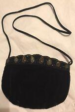 Gold Brown Beaded Black Velvet Shoulder Evening Purse Hand Bag Zip Top Closure