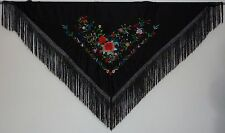 New Spanish Flamenco Shawl - Black with Multi-Colour Pattern with Black Fringe