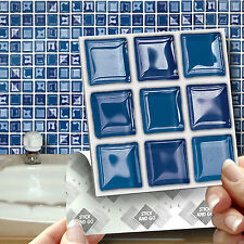 18 Stick & Go Blue 'Glass' Stick On Wall Tiles Stickers for Kitchen & Bathroom
