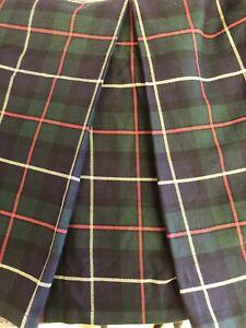 """Ralph Lauren Navy Blue & Green Tartan Plaid Queen Bed Skirt Cotton 15"""" Drop"""