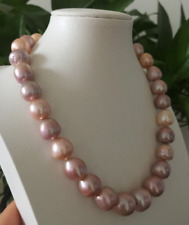 single 13-15mm south sea baroque multicolor pearl necklace18inch 14k