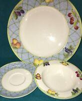 Mikasa Fruit Rapture Rim Fruit/ Dessert Bowl Dinner Plate And Saucer
