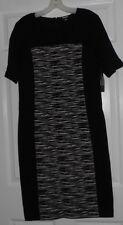 DKNY Black w/Black & Off White Inset Sheath Dress Size 14 NWT