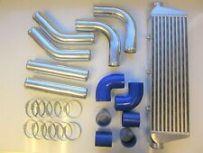 "Universal Front Mount Intercooler Kit FMIC 63mm 2.5"" BLUE HOSES 550x180x65 Core"