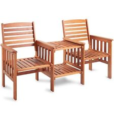 VonHaus Garden Love Seat Bench 2 Seater Hardwood Outdoor Patio Furniture Set