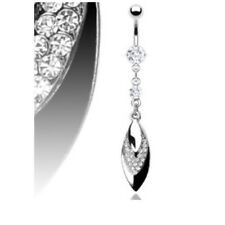 TRIPLE LEAF GEMS BELLY NAVEL RING PRONG CZ DANGLE BUTTON PIERCING JEWELRY B86