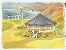 VINTAGE JEFFERSON MEMORIAL WASHINGTON DC GAZEBO GARDEN FLOWERS W/C ART PAINTING
