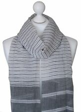 Grey Soft 100% Cotton Striped Scarf Ladies Spring Summer Scarves Mother Day Gift