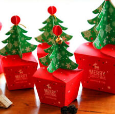10pc Merry Christmas Tree Bell Party Paper Favour Gift Sweets Carrier Bags Boxes