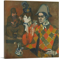 Harlequin with a Glass - Au Lapin Agile 1905 Canvas Art Print by Pablo Picasso