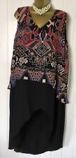 GEMMA COLLINS Dress Size 16 NWT Highlow Black Pink Multi Print Floaty v Casual