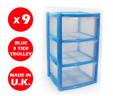 9 X 3 DRAWER PLASTIC STORAGE DRAWER - CHEST UNIT - TOWER - WHEELS - TOYS - BLUE
