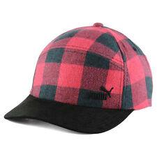 Puma Red & Black Buffalo Plaid Strapback Adjustable Hunter Hat Cap Hunt Hunting