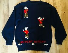 Vintage 1980s Pure Wool Rupert Bear Jumper ... UK 14
