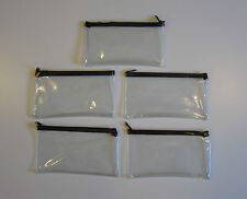 5 CLEAR VINYL ZIPPER WALLETS BANK BAG MONEY JEWELRY POUCH COIN CURRENCY COUPONS