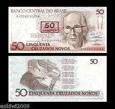 Brasil 50 Cruzeiros Sobre 50 Cruzados 1990 P-223 Perfecto Unc sin circulación los billetes de banco