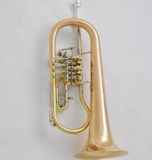 Professional Gold Brass Rotary Valve Flugelhorn Hand Engraving Bell With case