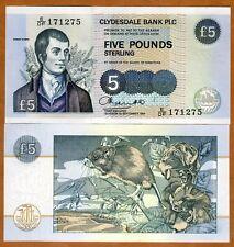 Scotland, Clydesdale Bank, 5 pounds, 1994, P-218b, UNC > Robert Burns