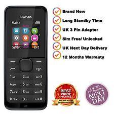 Neuf Nokia 105-Noir (Débloqué) Sans Poussière Téléphone Portable Bon Marché de base sans SIM
