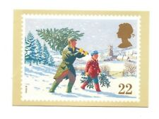 Royal Mail Stamp Card - Christmas 1990, Bringing Home The Tree - PHQ 131b