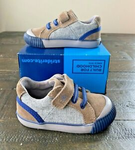 NWT BOYS TODDLER BABY STRIDE RITE SR PARKER BROWN GREY SNEAKERS SHOES MULT SZ