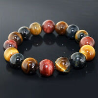 10mm Colorful Tiger Eye Bracelets Men Natural Stone Beads Charm Bracelet Jewelry