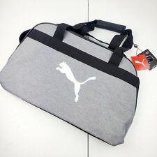 PUMA Defiance Duffle Gym Athletic Travel Bag Gray Black and Holographic Logo