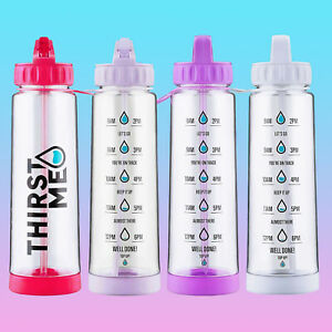 HYDRATION TRACKER WATER BOTTLE MEASUREMENTS GYM PINK RED PURPLE BLACK GREY LILAC