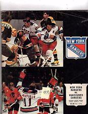 NY Rangers Playbook NY Rangers vs Vancouver canucks MSG Mar 73 (OZ190)