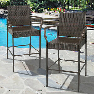 Set of 2 Outdoor Brown Wicker Barstool Outdoor Patio Furniture Bar Stool