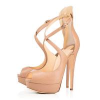 Women's Beige Peep Toe Cross Strap Platform High Heels for Wedding Party Shoes