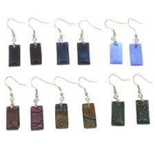 Wholesale Lot 12 Pairs Mixed Iridescent Dichroic Art Glass Rectangular Earrings