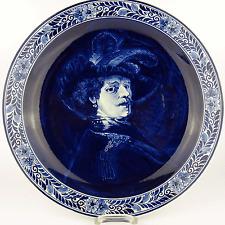 alter Teller Blue Delft Wandteller Koninklijke Porceleyne Plate nach Rembrandt