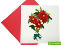 Red poinsettia flower Quilling Greeting Card - GREENHANDSHAKE