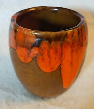 "Vtg 60's Bar Harbor Pottery 3 1/2"" Vase/Cup Orange Lave Drip Glaze"